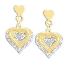 Brinco folheado a ouro em forma de coração com aplique de prata Código: BS2431