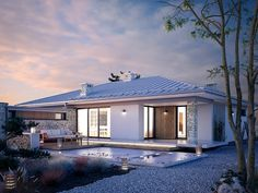 Bungalow Haus Design, House Design, Single Story Homes, House Elevation, Story House, Facade House, Architecture Plan, Pool Houses, Modern Farmhouse