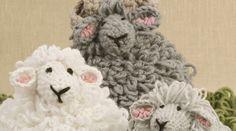 Hæklet vædder, får og lam, bløde bamser eller pynt, hæklet med løkkemasker