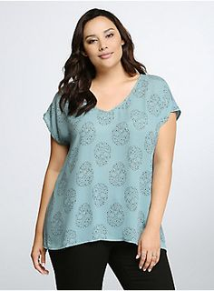 "<p>Could you be our lucky star? We'd say a definite yes if you rock this seafoam blue georgette blouse. An allover black starry skull print gets a breezy boost thanks to the sharkbite back hem.</p>  <p> </p>  <p><b>Model is 5'10"", size 1</b></p>  <ul> 	<li>Size 1 measures 29 1/2"" from shoulder</li> 	<li>Polyester</li> 	<li>Wash cold, dry low</li> 	<li>Imported plus size blouse</li> </ul>"