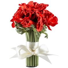 """Add a pop of color, texture and dimension to vases and more with 11"""" Red Poppy Standing Bouquet. Featuring gorgeous red orange blooms, this free-standing bouquet is accented in a gorgeous ivory bow that will bring out the sweet qualities in its surroundings. Use this delightful bouquet at weddings or use it as a gorgeous centerpiece for your coffee table!        Dimensions:      Bloom Width: 4""""    Full Width: 8"""" (Will Vary Upon Shaping)    Height: 11"""" ..."""