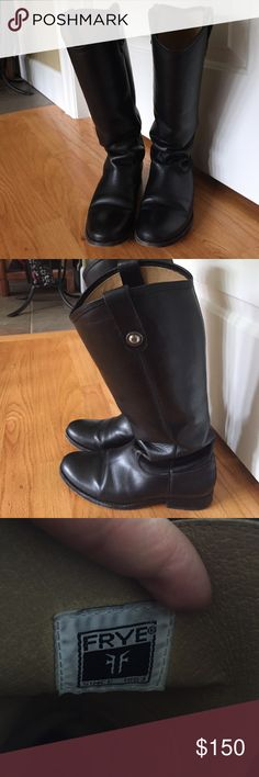 Frye Melissa black riding boots size 7 Great condition frye boots. The leather on these is so beautiful. I just don't wear these enough to justify keeping them. Very cute with pants or dress. i have used a weatherproofing spray to protect the leather. Also have a dark brown pair listed. Frye Shoes Heeled Boots
