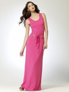 Scoop neck tank style maxi dress with gold link belt [#P5355A70254410] - $148.00 : Crazeparty.com, Dare to be Different!