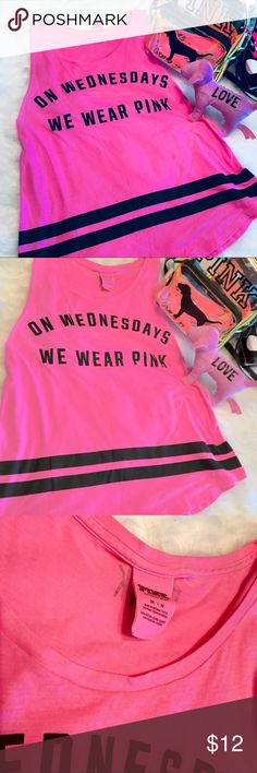 "Victorias's Secret's PINK ""We Wear Pink"" Tank Med. AWESOME EUC tank from Pink!  ""On Wednesday We Wear Pink""!  *Only Tank is Available in this listing, other items are not included & used as props! Please check out my closet for those items Availability. PINK Victoria's Secret Tops Tank Tops"
