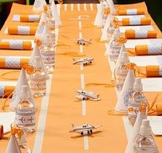 Runway table runner for the airplane party.use vintage silver airplanes to go in the baby's room. Can also do for birthday party Planes Birthday, Planes Party, Airplane Party, 1st Birthday Parties, Boy Birthday, Birthday Table, Birthday Ideas, Hedgehog Birthday, Party Fiesta