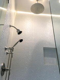 Porcelanosa Madison Nacar wall tile, Santec Lear plumbing fixtures #porcelanosa…