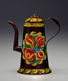 The Rick & Terry Ciccotelli Folk Art Collection - Paint-Decorated Tin Crooked-Neck Coffee Pot. Attributed to the Filley tin Shop Philadelphia, Pennsylvania, Circa 1825 -1850 - Tin plated sheet iron, brass finial, original painted decoration on asphaltum ground, Height 10 1/2 inches