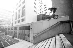 Big trick for a big ledge, Dawid throws the oppo-bars on an Athens ledge.