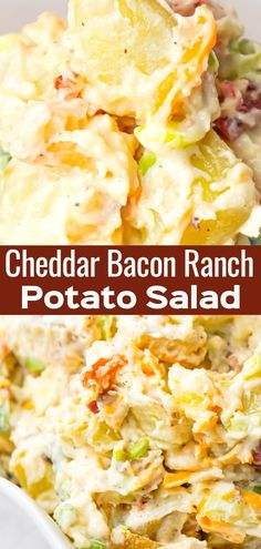 Cheddar Bacon Ranch Potato Salad is a creamy cold side dish recipe made with Yukon gold potatoes and loaded with crumbled bacon, cheddar cheese, chopped green onions, mayo and ranch dressing. Loaded Potato Salad, Bacon Ranch Potato Salad, Bacon Ranch Potatoes, Vegan Potato Salads, Creamy Potato Salad, Yukon Gold Potato Salad Recipe, Easy Potato Salad Recipe, Vegetarian Salad, Bacon Recipes