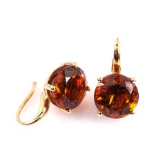 10,93CT Citrin Edelstein Ohrringe in der Farbe orangen, gefasst in 18-karätigem Gelbgold (750) Html, Stud Earrings, Jewelry, Citrine Earrings, Gems Jewelry, Rhinestones, Yellow, Handmade, Colors