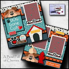 Details about dog gone cute 2 premade scrapbook pages paper printed 4 album layout pet cherry Dog Scrapbook Layouts, Paper Bag Scrapbook, Album Scrapbook, Papel Scrapbook, Birthday Scrapbook, Scrapbook Designs, Scrapbook Sketches, Baby Scrapbook, Scrapbook Supplies