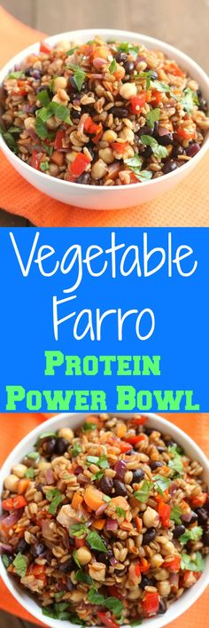 This Vegetable Farro Protein Power Bowl is exactly as its described.full of vegetables and plant-based protein sources! Farro Recipes, Vegetable Recipes, Salad Recipes, Diet Recipes, Vegetarian Recipes, Cooking Recipes, Vegetarian Protein, Chickpea Recipes, Healthy Breakfast Recipes