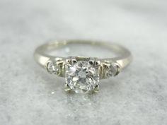 Gorgeous 18K White Gold 1940s Mine Cut Diamond by MSJewelers