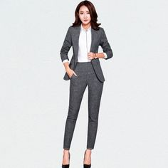 Women's Pant and Blazer Suit Simple Long Slim for Business – omymarts Long Jackets For Women, Blazers For Women, Pants For Women, Women Blazer, Classy Outfits, Pretty Outfits, Pretty Clothes, Work Outfits, Suit Fashion
