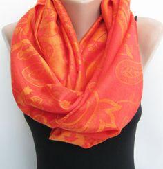 Pashmina infinity scarf orange paisley pashmina scarf by sascarves, $27.50