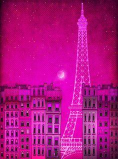 Paris illustration - The lights of the Eiffel tower, pink- Fine art illustration, Art print, Art Posters, Paris art, Paris decor, Wall decor. $20.00, via Etsy.