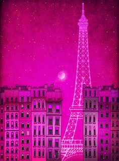 Paris illustration - The lights of the Eiffel tower, pink- Fine art illustration, Art print, Art Posters, Paris art, Paris decor, Wall decor. $20.00, via Etsy.