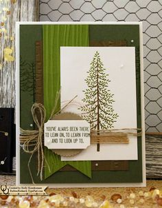 Tree Greeting Card Been There Thinking of You Thank You Strength Support Outdoor Woodgrain Nature Men Dad Brother Hand Stamped Green Brown by Rubberredneck on Etsy #rubberredneck #thoughtfulbranches #stampinup #etsy