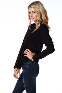 Weaved Back Blouse in Black / Shopsosie #black #blouse #detail #back #buttondown #shopsosie #fall