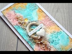 A easy Mixed Media card - using stencil, modelingpaste, mist - YouTube
