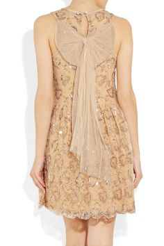 lace, bow, scalloped hem, latte shade, sequins <3