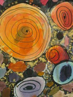 circles...watercolor, marker and metallic tempera