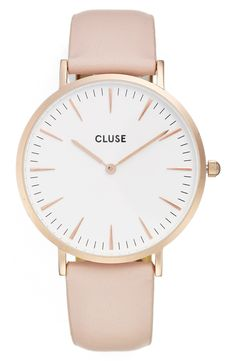 Cant go wrong with a pink blush watch for her! La Bohème Leather Strap Watch, 38mm