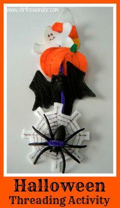 Halloween Threading Activity {Fine Motor Fridays} - Stir The Wonder