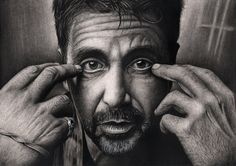 'Al Pacino' by Pen-Tacular-Artist on DeviantArt - The drawing was done on A3 cartridge paper, using graphite and charcoal pencils. Approx 30-35 hoUrs to complete.