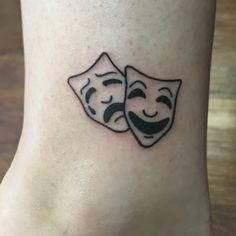 Tragedy and comedy mask theatre tattoo