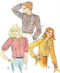 1980s Womens Blouse Pattern Butterick 3491 Yoked by paneenjerez, $10.00