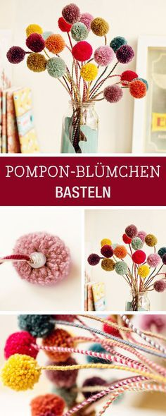 DIY-Inspiration für Blumen aus Bommeln / how to craft pompom flowers via DaWanda.com