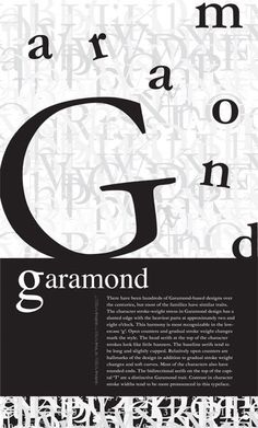 Garamond Typography Poster by Bethany Cathcart: I like how the design is centered around the typeface
