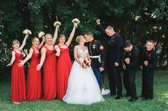 red and black wedding, red and black military wedding, marine corps wedding, marine corps color wedding, griffith house wedding, fun wedding shots, fun wedding party photos, wedding party posing ideas