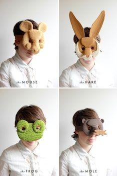 cardboard and fabric animal masks