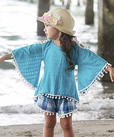 Look at this Mia Belle Baby Turquoise & Plaid Charlie Top & Shorts - Kids & Tween on #zulily today!