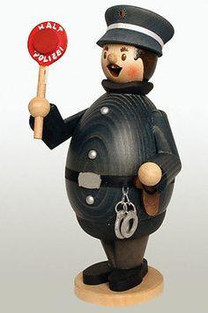 Happy Max the Policeman German Wooden Christmas Incense Smoker