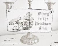 Nostalgieschmiede - Dekoschild Holzschild Glory to the Newborn King - Handmade www.nostalgieschmiede.de