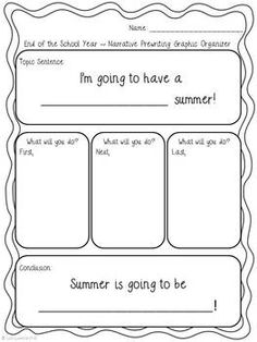 Students will be engaged with this project as they write about and share their plans for the summer, and teachers will love having a great final writing assignment to wrap up the school year! This project can also be used for the beginning of the school year for students to write about their fun summer experiences.