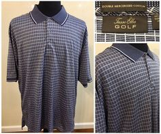 Mens Tasso Elbo Golf Polo Shirt Size XL Blue Plaid Check #TassoElba #PoloRugby