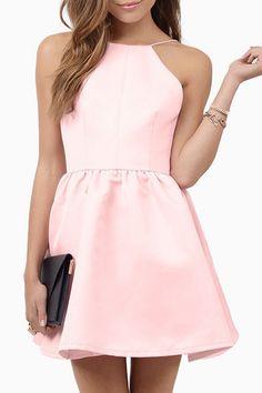 Pink Spaghetti Strap Open Back A Line Dress