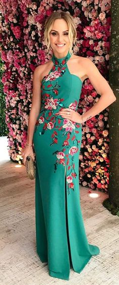 fashion halter dark green prom dress with embroidery