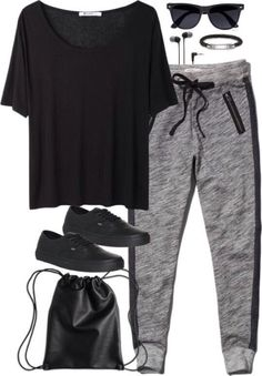 Black and white joggers, black joggers outfit, grey joggers, jogger pants outfit, Lazy Day Outfits, Sporty Outfits, Outfits For Teens, Summer Outfits, Cute Outfits, Winter Outfits, Denim Joggers Outfit, Pants Outfit, Grey Joggers