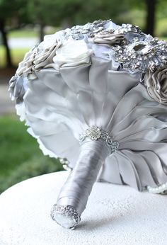 Silver Wedding Brooch Bouquet. Deposit on made to by annasinclair