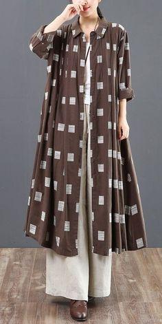 Women Long Button Down Cotton Shirt Loose Plaid Blouse 6128 – Women Fashion Muslim Fashion, Modest Fashion, Hijab Fashion, Fashion Outfits, Casual Hijab Outfit, Casual Dresses, Casual Outfits, Kurta Designs, Blouse Dress