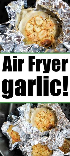 Roasted air fryer garlic cloves are wonderful additions to any recipe. Made fresh and tender in under 30 minutes, the flavors are amazing. #airfryergarlic #roastedgarlic