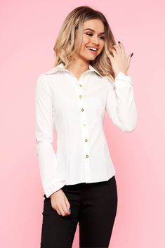 White cotton long sleeve women`s blouse with cut back, nonelastic cotton, long sleeves, with buttons, cut back, tented cut