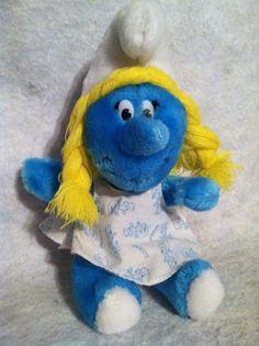 Vintage Smurfette Smurf Plush Doll w/ Cute Printed Dress Peyo. Wallace Berrie Co #WallaceBerrieCo