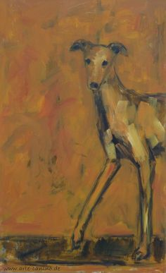 Spanish Greyhound, galgo), acrylic on canvas, 104 x 65 cm