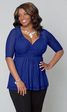 Love a beautiful cobalt blue, like our plus size Inspired Illusion Mesh Top. www.kiyonna.com #KiyonnaPlusYou #MadeintheUSA